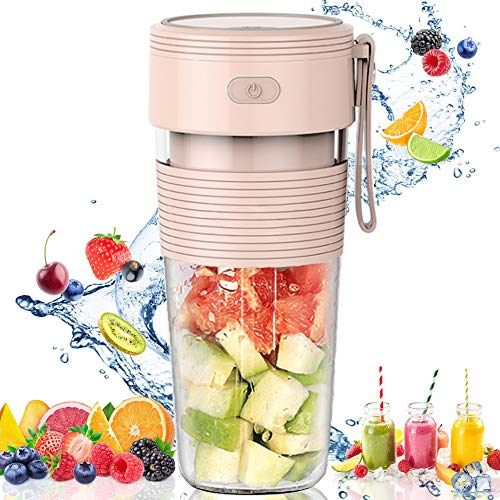 JY&Co. Portable Blender, Juicer Cup, Fruit Mixer |USB Rechargeable Personal Blender for Shakes and Smoothies |New Upgraded Handheld Blender for Gym, Travel, Office, Sports, Home, Outdoor (Pink)