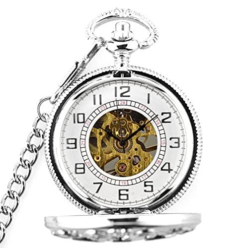 Reloj de Bolsillo, Retro SteampunkMecánico Flip Reloj de BolsilloCollarPulsera Plata