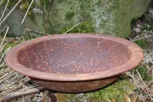 Rostikal | Edelrost Deko Schale rund, Rost Blumenschale, Gartenschale aus Metall | Ø 36 cm