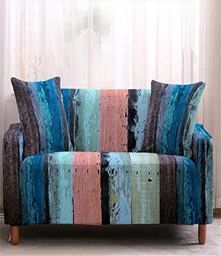TXSA Fodera per divano 1/2/3/4 posti fodera per divano elasticizzato morbido elasticizzato Mimetica blu Allungabile Universale Fodera per Divano,4 persona 235-310CM