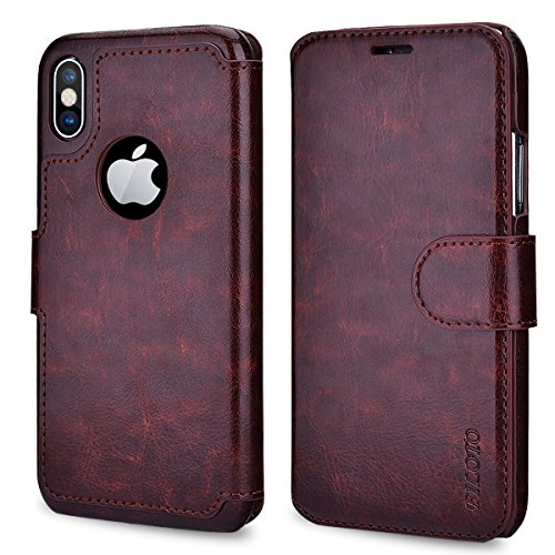 Filoto iPhone Xs Wallet Case, iPhone X Case, Premium PU Leather Wallet Case with Card Holder/Magnetic Closure Flip Cover for Apple iPhone X/Xs iPhone 10 (Brown)