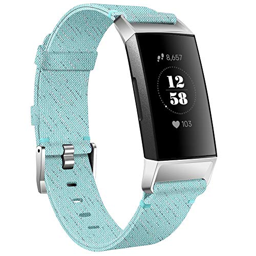 KIMILAR Armbänder Kompatibel mit Fitbit Charge 4 / Charge 3 Armband Stoff, Schnellspanner Nylon Ersatzband Armbänder für Charge 4/3/SE Fitness Tracker -Minzgrün