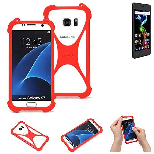 K-S-Trade® Handyhülle Für Archos 45d Platinum Schutzhülle Bumper Silikon Schutz Hülle Cover Case Silikoncase Silikonbumper TPU Softcase Smartphone, Rot (1x)