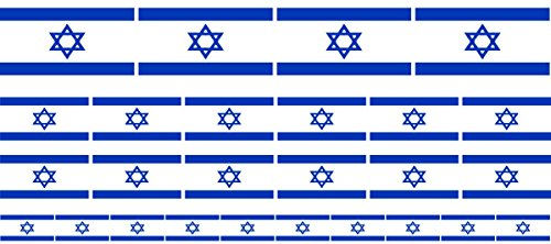 Mini Aufkleber Set - Pack glatt - 4x 51x31mm+ 12x 33x20mm + 10x 20x12mm- Sticker - Fahne - Israel - Flagge - Banner - Standarte fürs Auto, Büro, zu Hause & die Schule - Set of 26