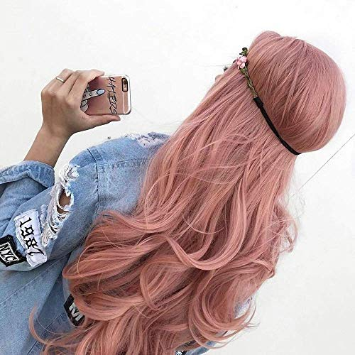 XINGYU 22 Pouces Rose Gold Pink Synthetic Lace Front Wigs for Women Wavy Hair Pastel Pink High Temperature Long Hair for Women Replacement Wigs Sunny Hair Natural