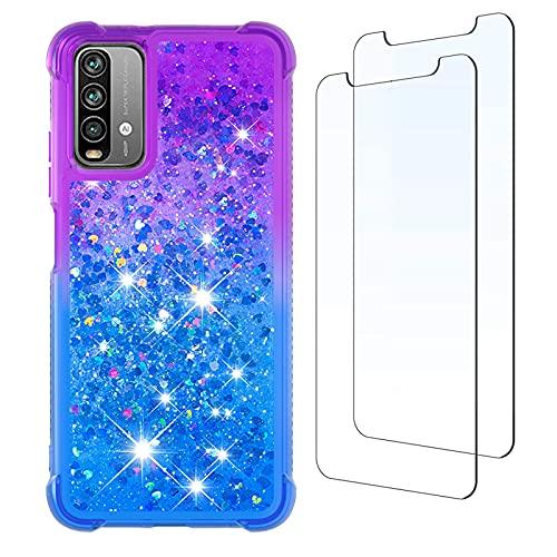 para Xiaomi Redmi Note 9 4G Funda y [2 Pack] Protector de Pantalla, Glitter Liquida Purpurina Transparente Carcasa Brillante Arena Movediza Cover para Xiaomi Redmi Note 9 4G (Púrpura/Azul)
