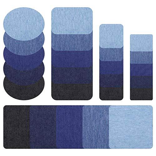Firtink 30 Stück Flicken zum Aufbügeln Jeans, Baumwolle Flicken Bügelflicken Bügeleisen Denim Patches Jeans Reparatursatz Set Aufbügelflicken für Jeans DIY Taschen