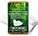 Bamboo Paper Towels (Extra Thick, 2 Roll Pack) - Reusable & Washable Bamboo Kitchen Paper Towels – Highly Absorbent, Durable & Economical - Sustainable Alternative To Traditional Paper Towels