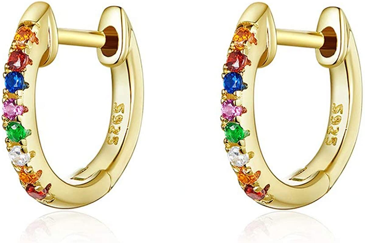 Qings Gold Plated Colorful Tiny Huggies Hoop Cuff Earrings 925 S