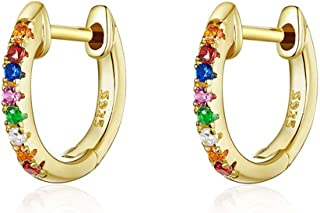 Qings Gold Plated Colorful Tiny Huggies Hoop Cuff Earrings 925 Sterling Silver Rainbow Cubic Zirconia for Women and Girls