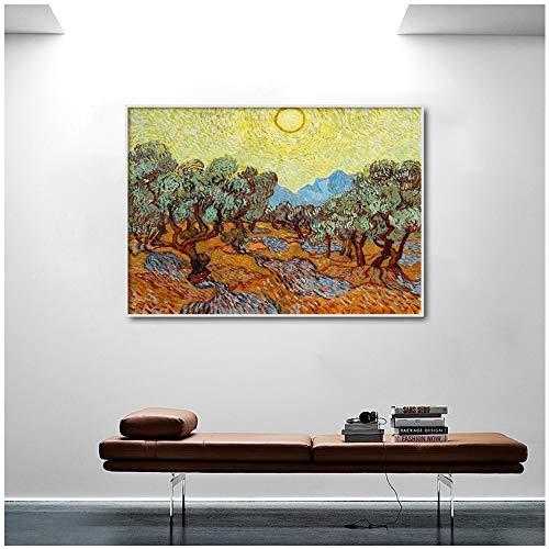 Geiqianjiumai Maler Berühmte Impressionismus Impressionismus Sonnenlicht Olivenbaum Wandbild Leinwand Dekoration Poster und Drucke Rahmenlose Malerei 30x39cm