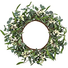 Size: unfold the eucalyptus wreath fully, the inner diameter is about 25cm/10in; the outer diameter is about 50cm/20in. This eucalyptus wreath is surrounded by thick leaves, and we have added thick leaves and full berries on the original basis to mak...