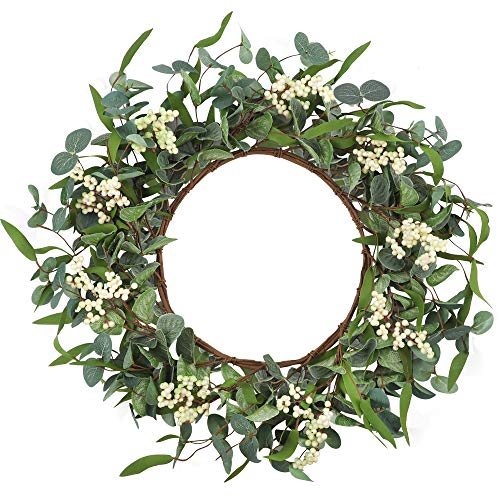 CEWOR Artificial Eucalyptus Wreath 20inch Large Green Leaf Wreath for Festival Celebration Front Door Wall Window Party Decoration