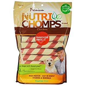NutriChomps Dog Chews, 6-inch Twists, Easy to Digest, Long Lasting, Rawhide-Free Dog Treats, 15 Count, Real Chicken flavor