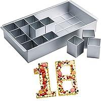 MANO ケーキ型 ノンスティック 長方形 ベーキングパン 数字 アルファベット 文字 ケーキ型 アルミニウム DIY ケーキ缶 カッター 耐熱皿セット 結婚式 誕生日用