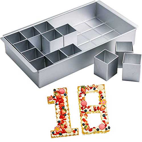 MANO Number Cake Pan for Baking Letter Cake Molds Set with 12 Pcs Square Cake Tins DIY Number Cake Molds Set for Wedding Birthday