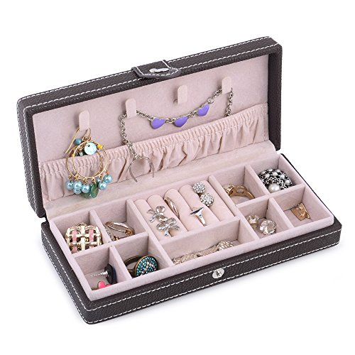 Kendal Jewelry Box for Women, Small Leather Jewelry Organizer, Portable Travel Jewelry Storage for Convenience Necklace Ring Storage