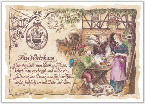 Die Staffelei Geschenk Karte Wirtshaus Wirtin Gastwirt Wirt Zeichnung mit Gedicht, 20 x 15 cm