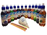Snowycones | Syrup for Snow Cones and Shaved Ice | 12x250 ml Not Slush | Blue Raspberry/Strawberry/Lemon and Lime/Cherry, Free Cups and Straws