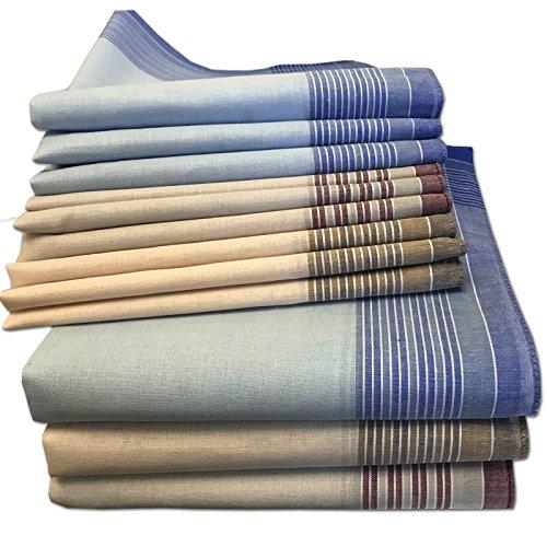 JEMIDI Stofftaschentücher Herren und Damen Baumwolle 12er Pack Stoff Taschentücher 100% Baumwolle Herrentaschentücher Stofftaschentuch in unterschiedlichen Designs, Design 10, 40cm x 40cm