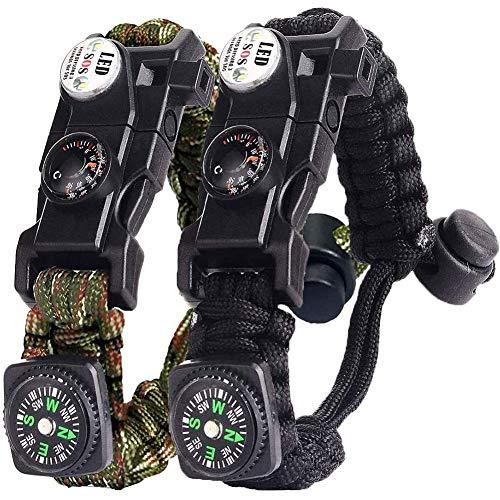 Hasey Survival Armband Kit für Herren Damen, Survival Armband mit Feuerstein,Kompass, Thermometer, Pfeife, Schirmseil, LED-Leuchte,Multi-Werkzeug,Kartenleser (Schwarz + Tarnen)