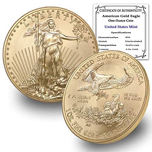 2021 1 oz Gold American Eagle Brilliant Uncirculated with Certificate of Authenticity by CoinFolio $50 Mint State