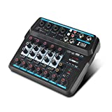XTUGA AM6 6Channels Audio Mixer Sound Mixing Console with Bluetooth USB Record 48V Phantom Power Monitor Paths Plus...