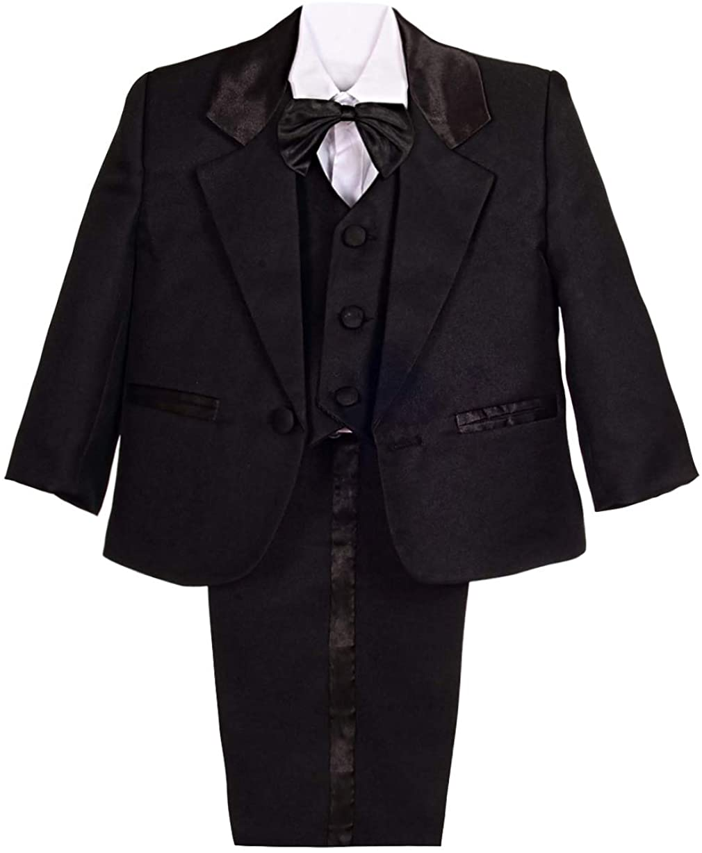 Dressy Daisy Baby Boy' 5 Pcs Set Formal Tuxedo Suits No Tail Wedding Christening Outfits