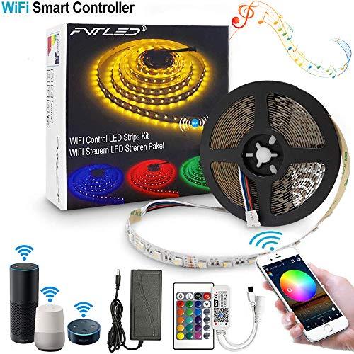Wifi RGB LED Streifen Kit, Smart 5m RGB 300LED Strip Lichtleiste Arbeitet mit Alexa, Google Home, IFTTT, Smart Phone Gesteuert RGB Led Strip SMD5050 Leiste Band mit DC12V Netzteil und Controller