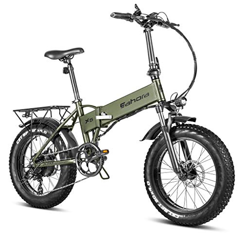 eAhora X5 4.0 Fat Tire Folding Electric Bicycle 20 inch 500W Electric Bikes for Adults 48V 10.4Ah Snow Beach Electric Bike Lithium Battery Smart E-PAS Power Recharge System 7 Speed with Fenders & Rack