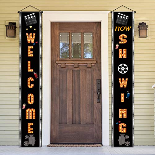 Movie Night Welcome Porch Sign Welcome Now Showing Banner Home Theater Hollywood Party Movie Night Decorations