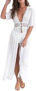 Bikini de Encaje Largo de Whitegeese para Mujer Traje de baño Cubierto Vestido de Traje de baño de Playa Suave con Rebeca