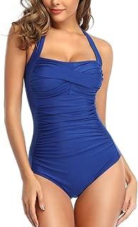 Tummy Control Swimwear Black Halter One Piece Swimsuit...