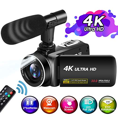 4K Video Camera Camcorder Ultra HD with LED Full Light, Video Camcorder...