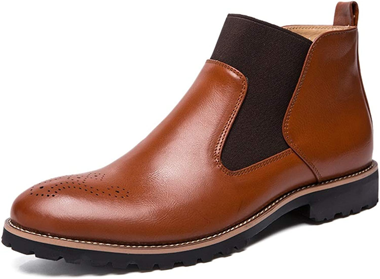 MUMUWU Men's Fashion Ankle Boots Casual Classic Engraving is Comfortable High Top Boot Semi Formal shoes (color   Brown, Size   10.5 D(M) US)