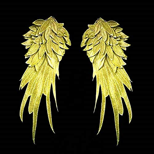 1Pair White Embroidered Angel Wings 15.8 6.2 inch (Gold L)