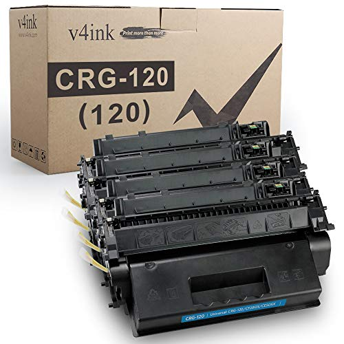 V4INK 4PK Compatible Toner Cartridge Replacement for Canon 120 2617B001AA High Yield Toner for Canon imageCLASS D1100 D1120 D1150 D1170 D1180 D1320 D1350 D1370 D1520 D1550 i-Sensys MF6680DN Printer