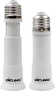 DiCUNO E27 a E27 8-10.5CM Adaptador extensor ajustable, Soporte de lámpara Socket Convertidor, Adaptador de lámpara de base mediana flexible (paquete de 2)