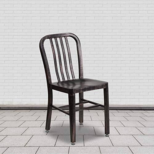 Flash Furniture Juego de 2 sillas de metal, para uso en interiores y exteriores, calidad comercial, color Dorado Negro envejecido