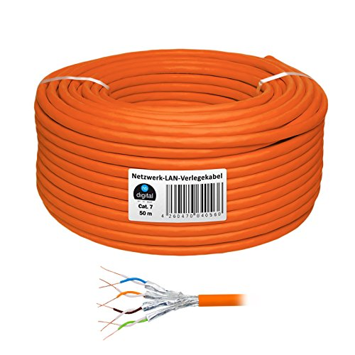 HB Digital Netzwerkkabel LAN Verlegekabel Cabel 50m cat 7 Kupfer Profi S/FTP PIMF LSZH Halogenfrei orange RoHS-Compliant cat. 7 Cat7 AWG 23/1