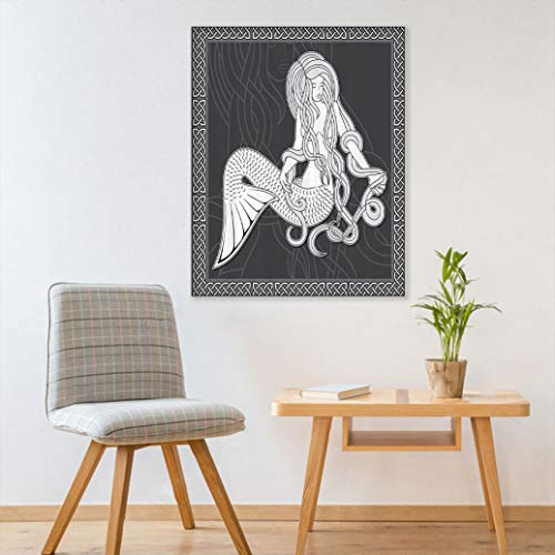 Alumeco Mermaid Decor Canvas Wall Art Print, Retro Style Art Illustration of a Mermaid Brushing Hair and Border with Celtic Patterns Wallpaper Bedroom Decor-Peel and Stick, 24' W x 35' L Grey