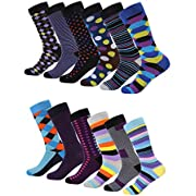 Mio Marino Men's Dress Socks - Colorful Funky Socks for Men - 12 Pack