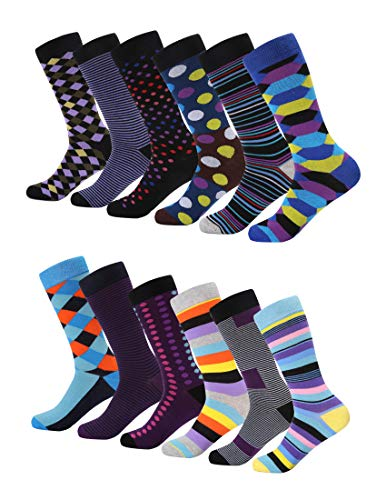 Mio Marino Men's Dress Socks - Colorful Funky Socks for Men - 12 Pack (Funky Cluster,13-15)