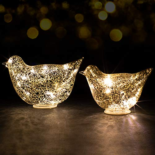Glass Bird LED Fairy Lights , 2 Pack Size Lamp,4 x CR2032 Batteries Included,String Night Light Birds Crafts for Indoor Bedroom Bar Table Christmas Wedding Halloween Decorations Soft White