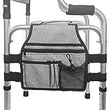 Bolsa de tela Oxford para silla de ruedas, bolsa colgante de gran capacidad con bolsillos con cremallera para sillas de ruedas y scooters