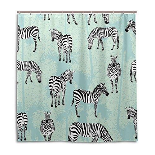 jstel Decor Duschvorhang Zebra Blue Palm Muster Print 100prozent Polyester Stoff 167,6x 182,9cm für Home Badezimmer Deko Dusche Bad Gardinen mit Kunststoff Haken