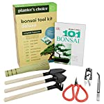 Bonsai Tool Kit, including wooden rake, spades, scissors, tweezers, bamboo brush, & pruning shears