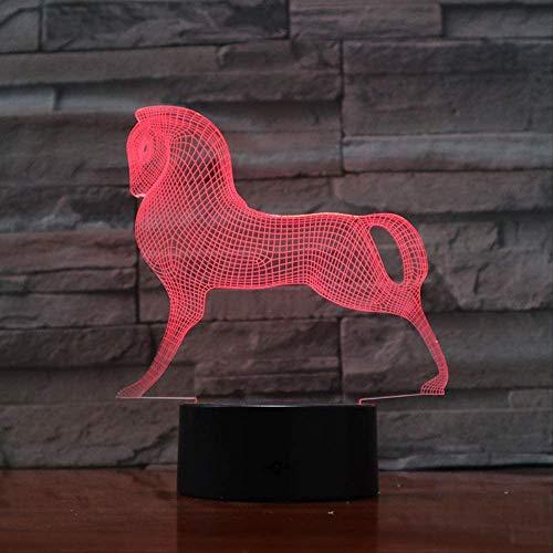 Mignon Coloré Poney Cheval Jouets Petit Poney 3D Illusion Veilleuse Acrylique Veilleuse Bébé Enfants Dormir Lampe 3D avec Télécommande Enfant Cadeau