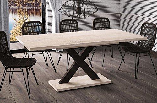 Endo-Moebel Esstisch Mila ausziehbar 130cm - 180cm Sonoma Eiche Küchentisch Design bi Colour Säulentisch