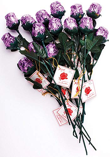 Madelaine Chocolate One Dozen Red Sweetheart Roses - Premium 1/2 OZ Solid Milk Chocolate Roses Wrapped in Italian Foils - Chocolate Flower Bouquet (Lavender, 12 Pack)